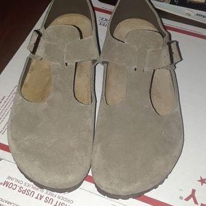 birkenstock boston taupe suede leather closed toe